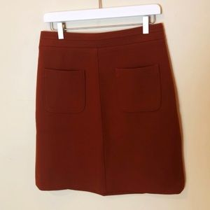 Ann Taylor rust brown pocket front a-line skirt